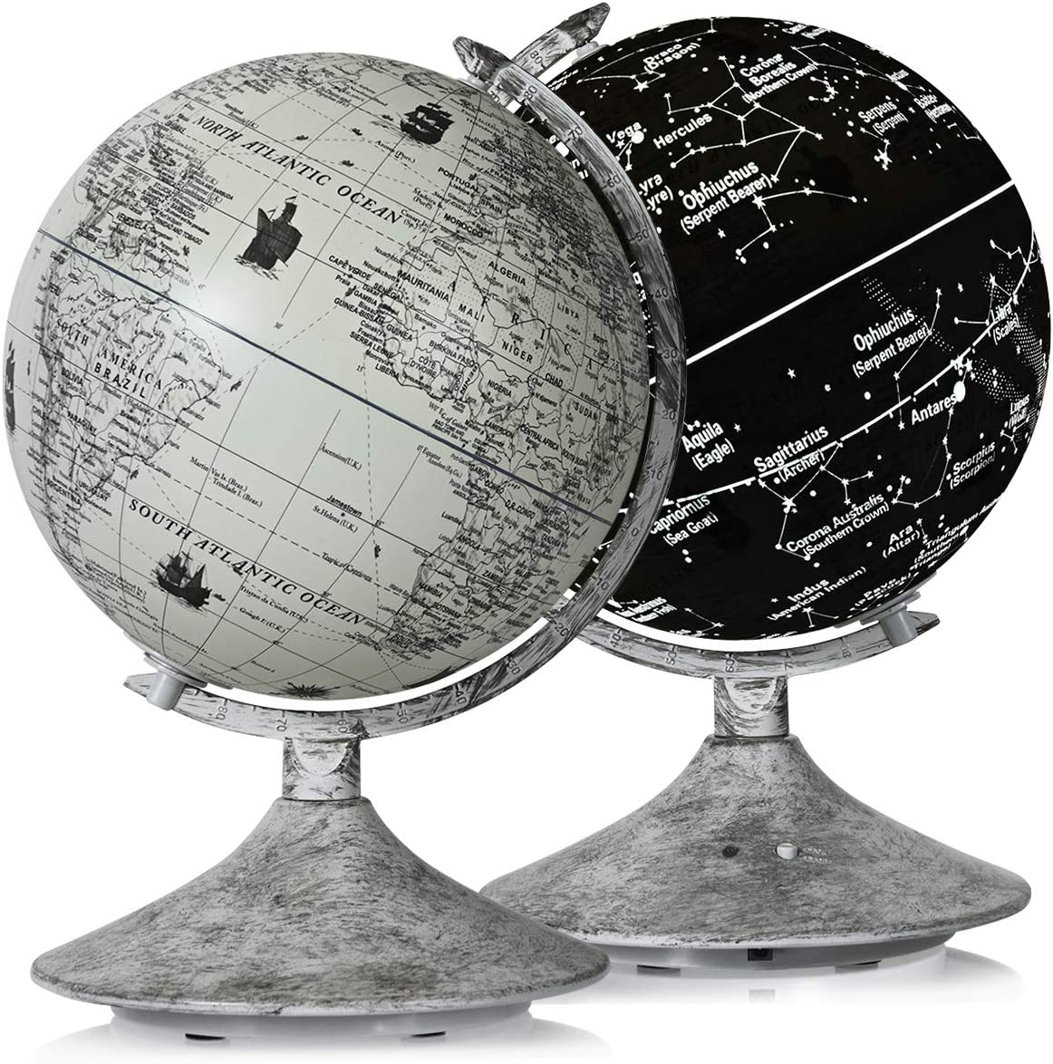 Goplus 9'' Illuminated World Globe, 3 in 1 Built-in LED Desktop Globe with World Map and Constellation View, Interactive Educational Earth Globe for Kids Adults