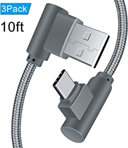 USB C Right Angle Type C Cable 10ft 3 Pack 90 Degree Braided Charger Cable, ANSEIP Fast Charging Cord & Data Sync for Samsung Galaxy S8/S8 Plus,Moto Z Z2,Nexus 6P/5X and More (Grey,10ft)