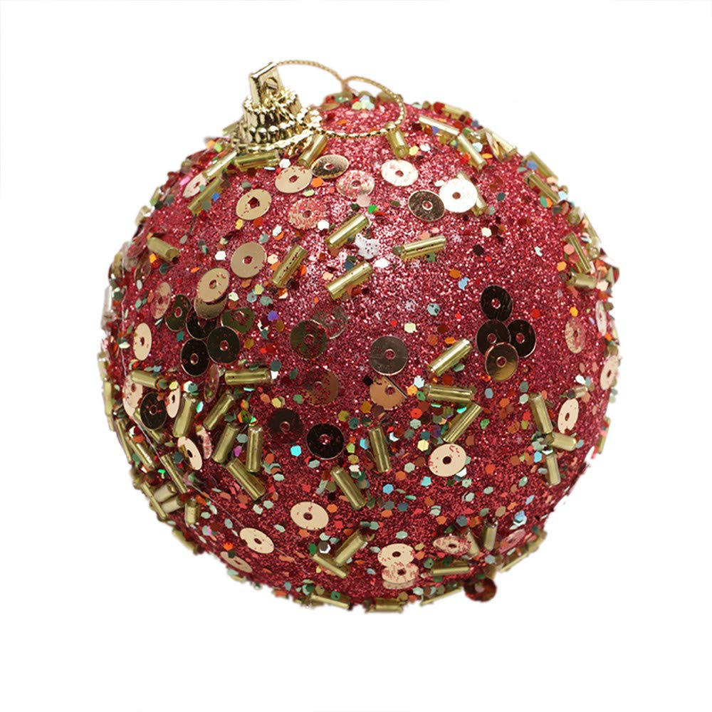 3.15in Christmas Ball Ornament Party Xmas Tree Pendant Rhinestone Shatterproof Christmas Decorations (Red, 80mm)
