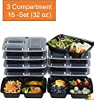 Amazon Price History for:Nutribox [15 pack] 32oz - three 3 compartment Plastic Food storage Containers with lids - BPA Free Reusable Lunch bento Box - Meal Prep Containers, Leak Proof Microwave, Dishwasher and Freezer Safe