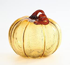 """New Large 10"""" Hand Blown Crackle Glass Murano Art Style Amber Pumpkin Sculpture Fall"""