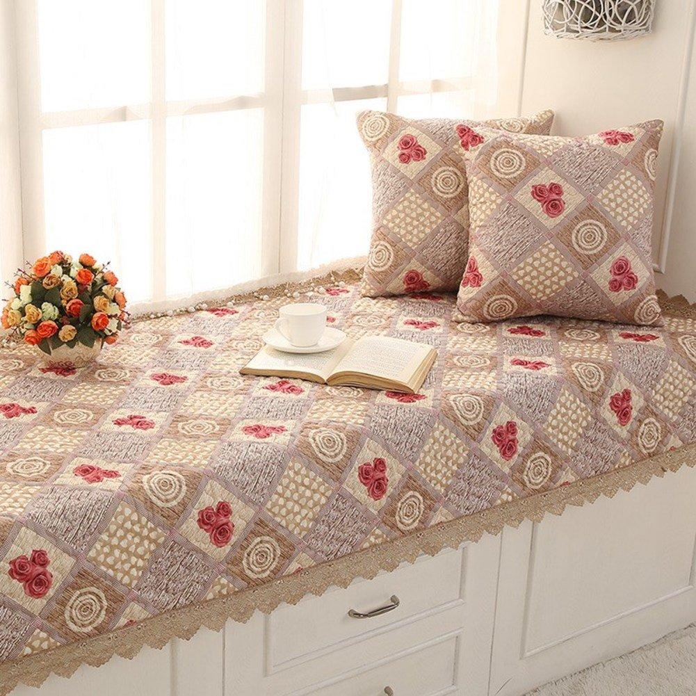 SQINAA Floral non-slip bay window mat,Lace window seat cushion balcony mat floating window blanket mat sofa slipcovers tatami mat-B 45x45cm(18x18inch)