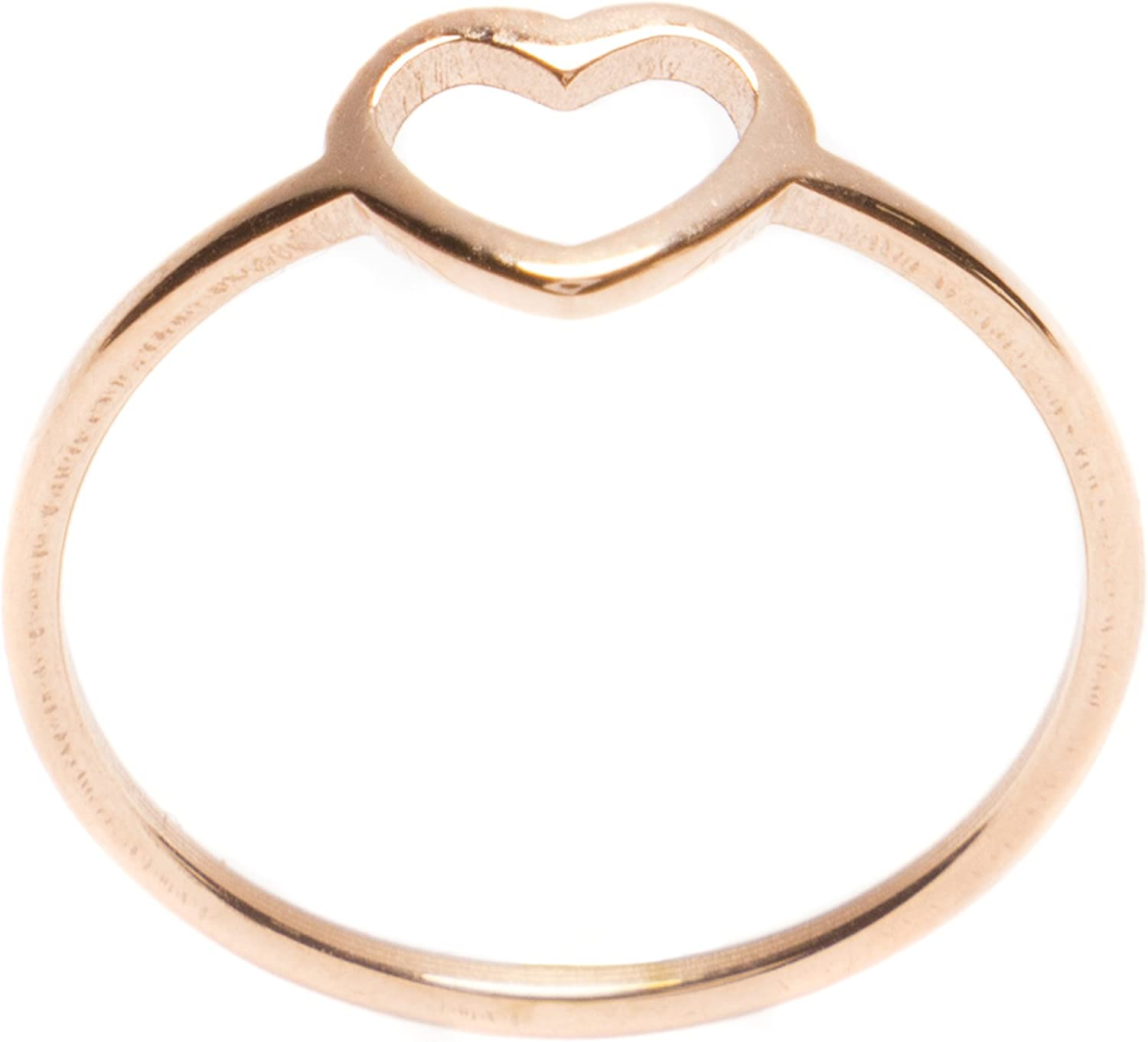 Stainless Steel Gold Color Plated Open Love Heart Link Fancy Ring