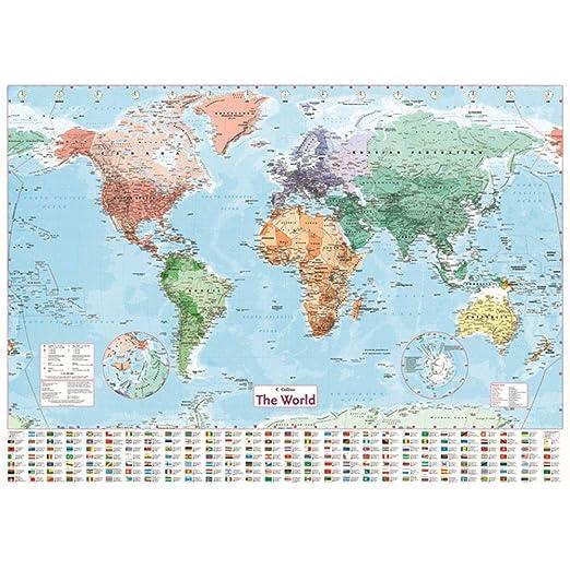 100X70 cm Etiqueta de la pared Mapa del mundo Mapa grande ...