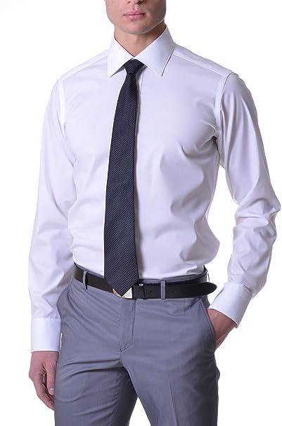 3db85de991 Caliban - Camicia Uomo Slim Bianco 42: Amazon.it: Abbigliamento