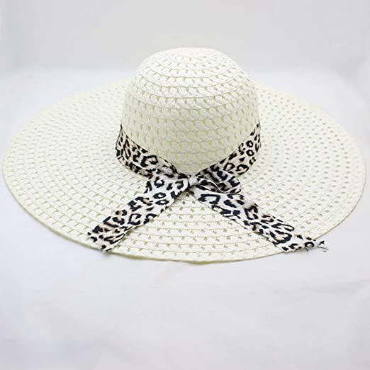 504ac186b8 Image Unavailable. Image not available for. Color: Womens Wide Brim Sun Hat  with Wind Lanyard UPF 50 Beach Summer Sun Straw Hats for