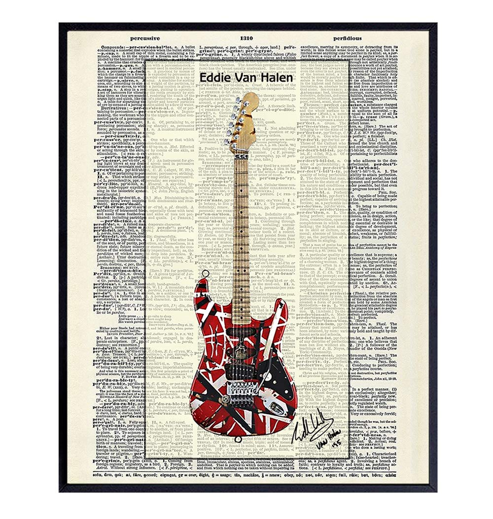 Amazon.com: Eddie Van Halen Guitar - Wall Art Print on Dictionary Photo -  Ready to Frame (8x10) Vintage Photo - Great Gift for 80s Music and Rock n  Roll Fans - Cool