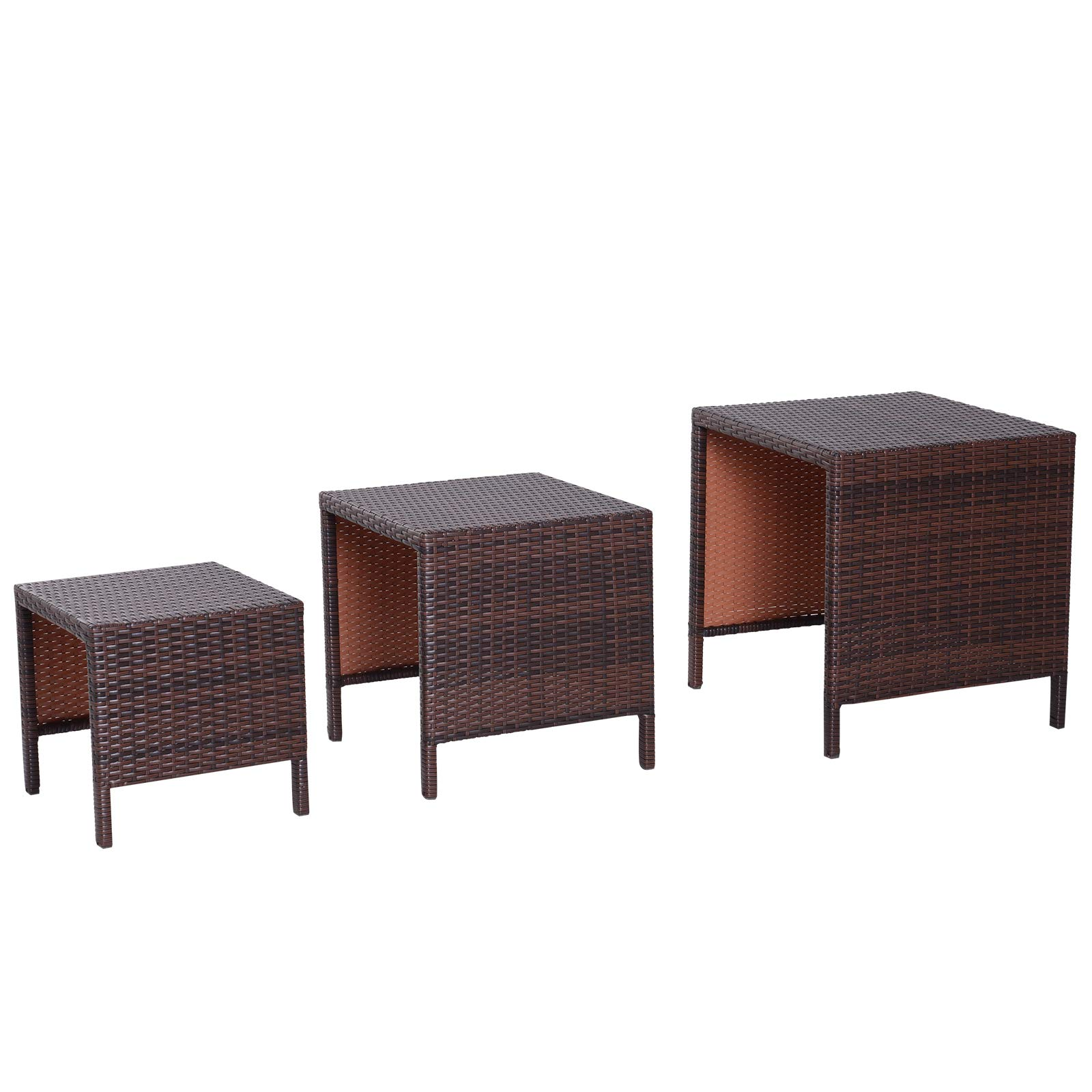 Outsunny 3 Piece Rattan Wicker Outdoor Compact Nesting Table Patio Dining Set