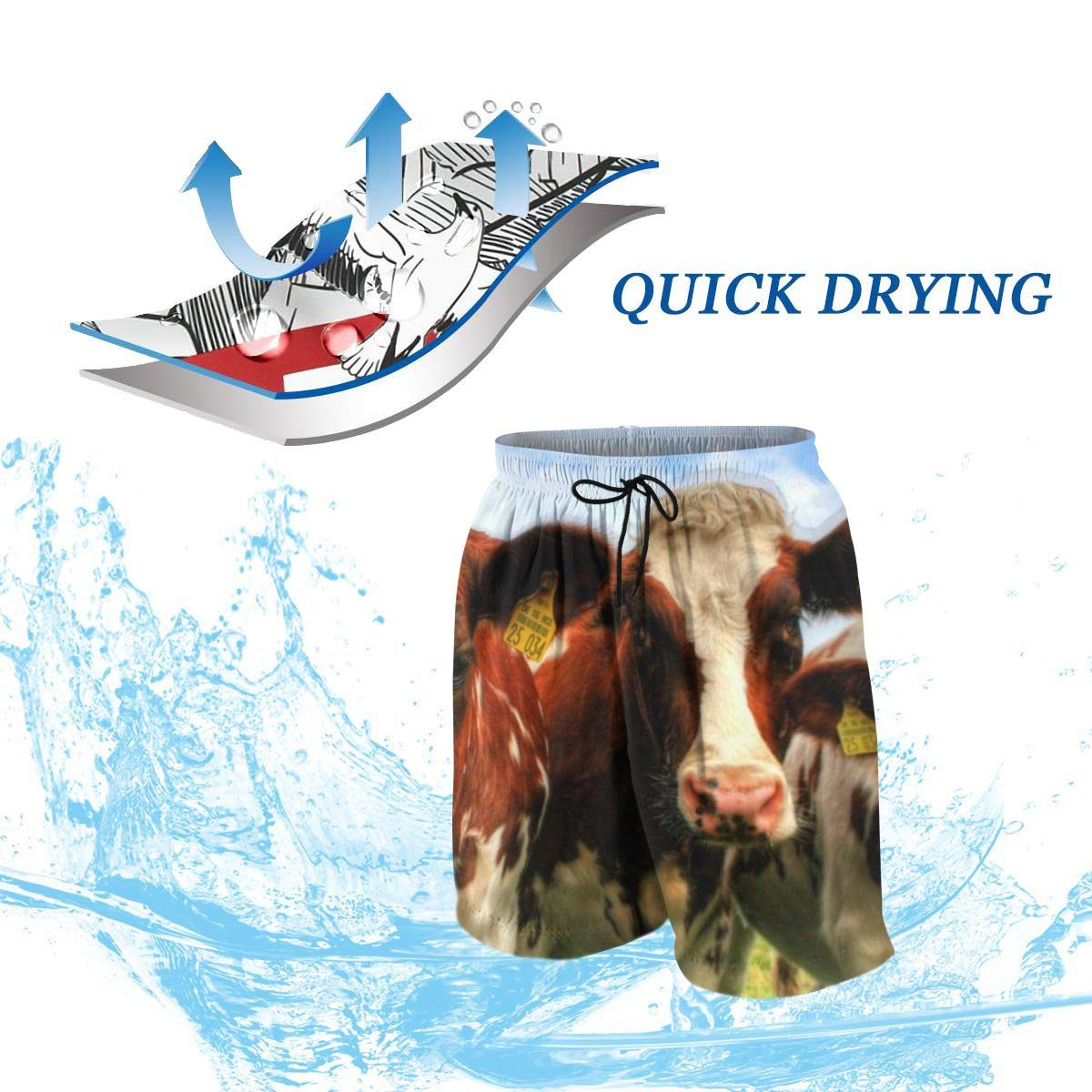 Cows in Dairy Farm Mens Running Swim Board Shorts