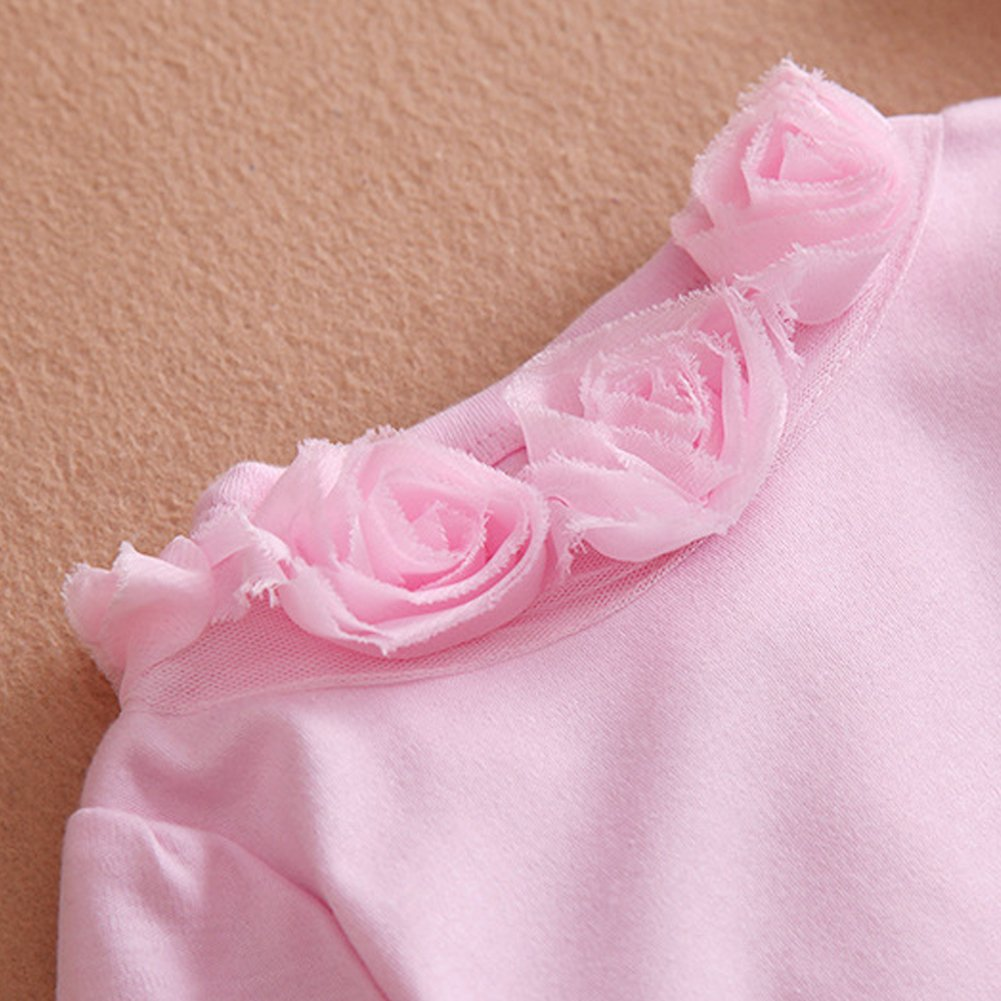 MIOIM Newborn Baby Girls Cotton Bodysuit Lace Flower Romper Front Buttons Jumpsuit
