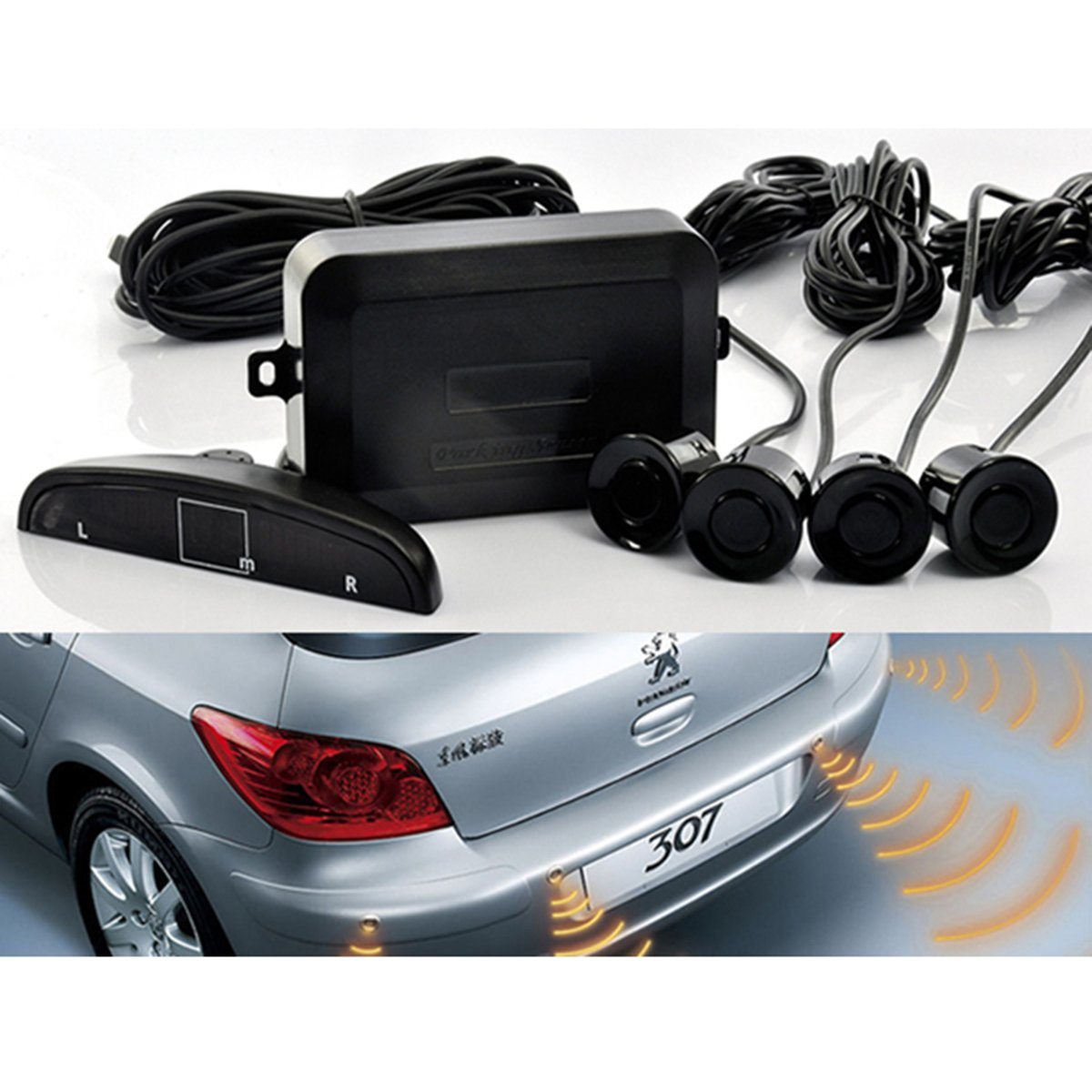 Sound Warning Silver Color EKYLIN Car Auto Vehicle Reverse Backup Radar System with 4 Parking Sensors Distance Detection LED Distance Display