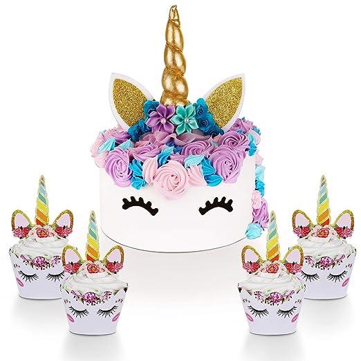 Unicornio para decoración de tartas con pestañas y unicornio ...