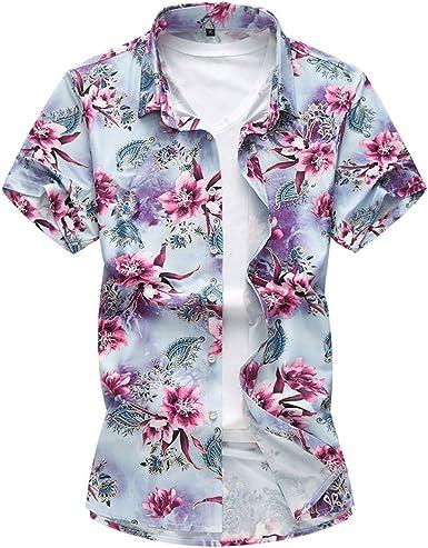 Camisa de Hombre Casual Floral Camisas Hawaianas Moda Verano Tops: Amazon.es: Ropa y accesorios