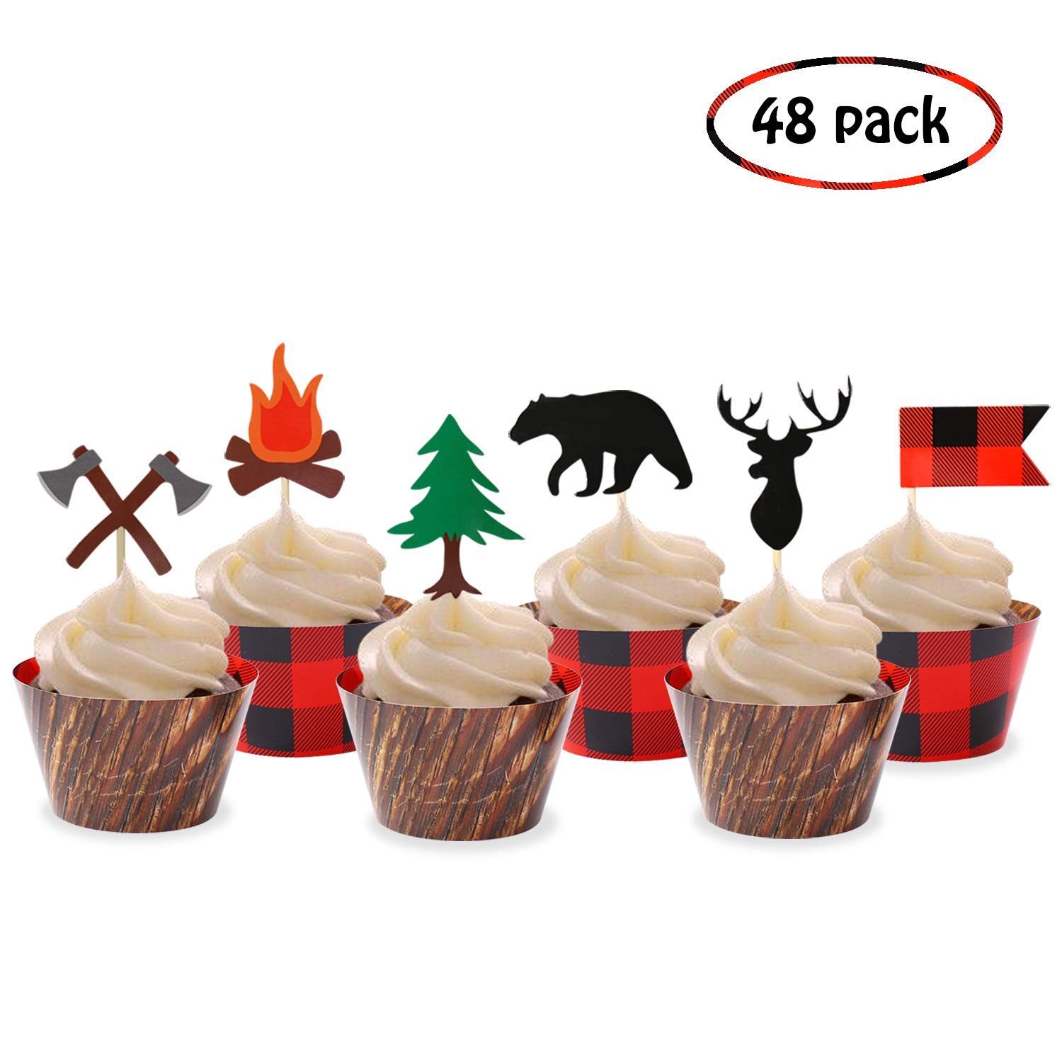 Camping Cupcake Toppers Wood Grain Buffalo Plaid Wrappers Woodland Theme Party Decoration Supplies(48 Pack)