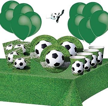 Fiesta de Cumpleaños de Fútbol 8 Niños Chico Decoración Mesa 1 Mantel 8 Tazas 16 Servilletas: Amazon.es: Juguetes y juegos