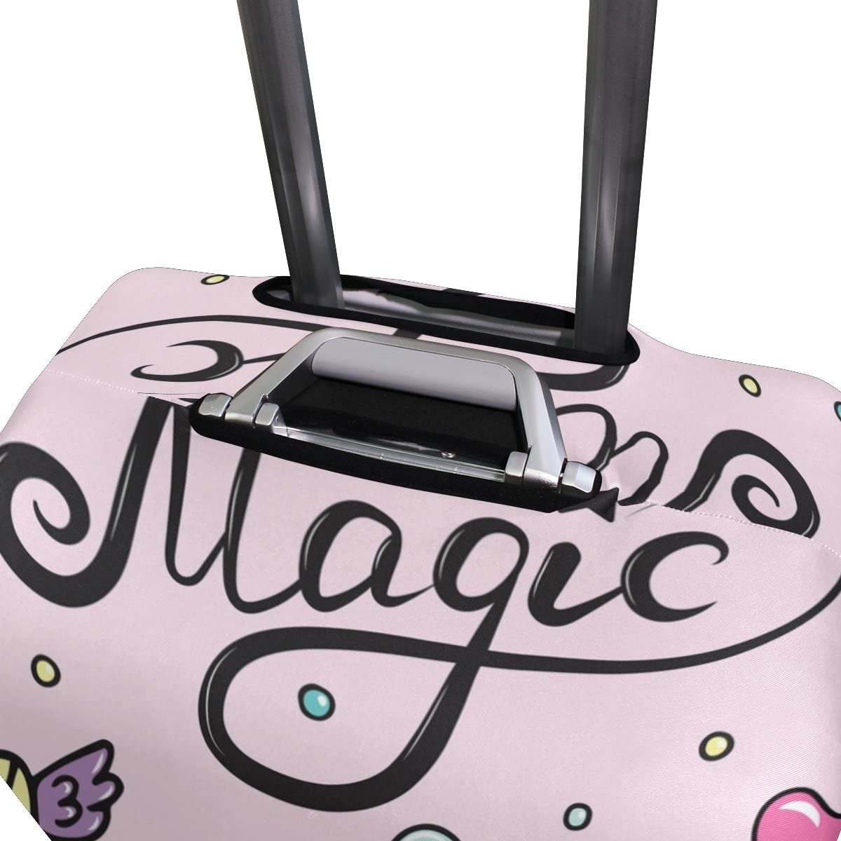 OREZI Luggage Protector Magic Unicorn Wand Heart-Sunglasses Travel Luggage Elastic Cover Suitcase Washable and Durable Anti-Scratch Stretchy Case Cover Fits 18-32 Inches