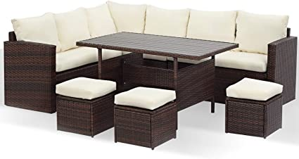 Wisteria Lane Patio Furniture Set 7 Pcs Outdoor Conversation Set All Weather Wicker Sectional Sofa Couch Dining Table Chair With Ottoman Ivory Garden Outdoor