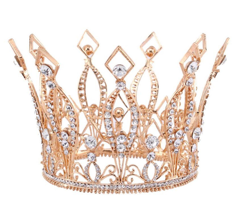 Wiipu Rose Gold Royal Rhinestone Wedding Tiara Bridal Pageant Round Crown(A1234)