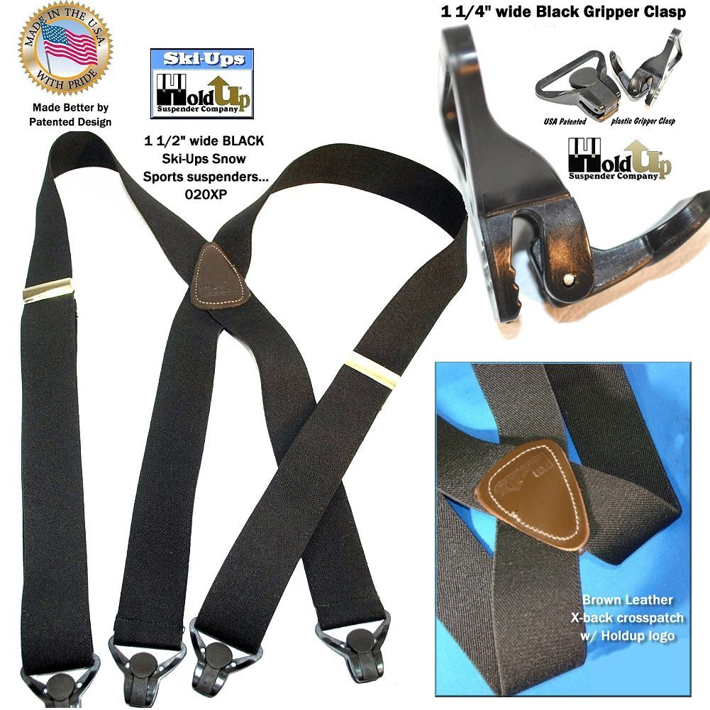 HoldUp All Black Snow Ski-Ups Suspenders in 1 1/2'' width with Patented black Gripper Clasps in X-back style by Hold-Up Suspender Co. (Image #5)