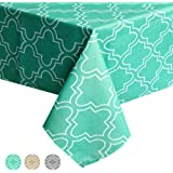 ColorBird Elegant Moroccan Tablecloth Waterproof Spillproof Polyester Fabric Table Cover for Kitchen Dinning Tabletop Decoration (Rectangle/Oblong, 60 x 84 Inch, Teal)
