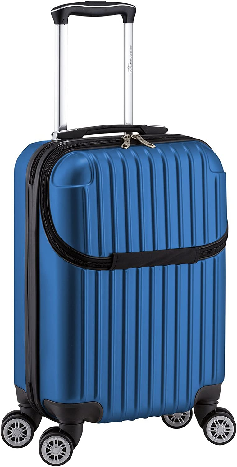 Euro Style Collection Luggage Travel Bag ABS Trolley Spinner Suitcase with Front Opening