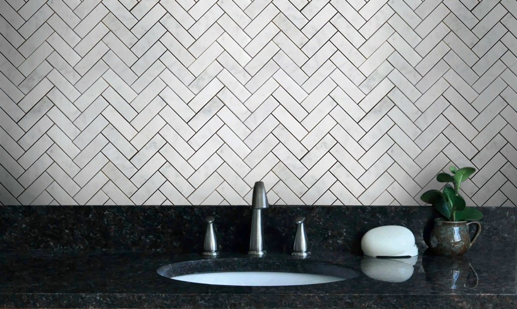 Wallandtile Carrara White 1''x3'' Herringbone Pattern Honed Mosaic Tile