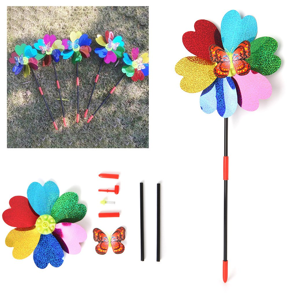 Random Color Hacloser Colorful Windmill Kids Toys Flower Butterflies Animal Pattern Wind Spinner Pinwheels for Home Garden Yard Decoration 01#
