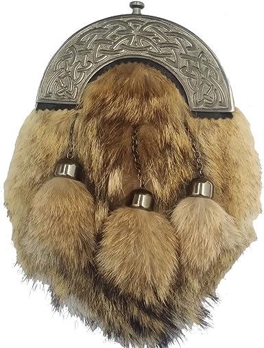 Mens Scottish Kilt Sporran Fox Fur//Kilt Sporran Fox Fur Mouth//kilt Sporrans fox