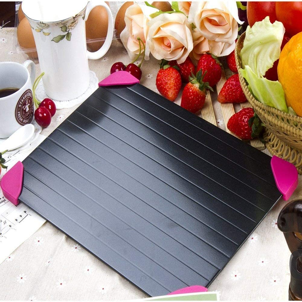 Cook@Home Fast Defrosting Tray - The Safest Way to Defrost Meat or Frozen Food Quickly Without Electricity, Microwave, Hot Water or Any Other Tools (Pink)