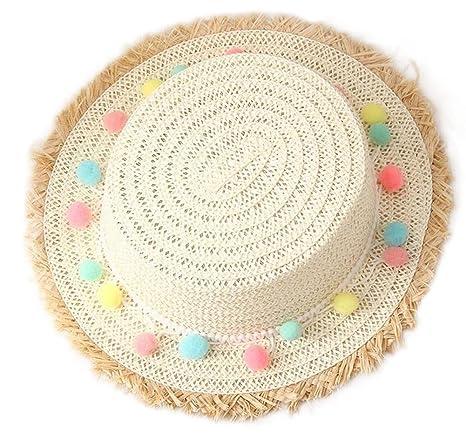 Abbigliamento sportivo Outflower 1pcs Cappellino da Spiaggia Carino Cappello a Testa Piatta Cappello di Paglia di Colore Cappello di Spiaggia per Bambini alla Moda 50-52cm Bianco Latte Abbigliamento sportivo
