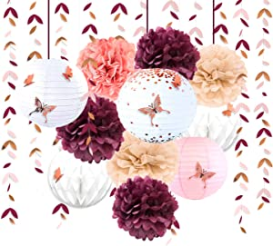 Burgundy Rose Gold Pink Party Decoration Kit Lanterns Flowers Pom Pom with 3D Butterfly Stickers and Leaf Garland Streamers for Birthday Engagement Wedding Bridal Shower Bachelorette Party Supplies