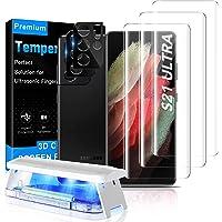 MOWEI 3-pak do Galaxy S21 UltraScreen Protector, [100% ultradźwiękowe odblokowanie odcisków palców] 3D zakrzywione szkło…