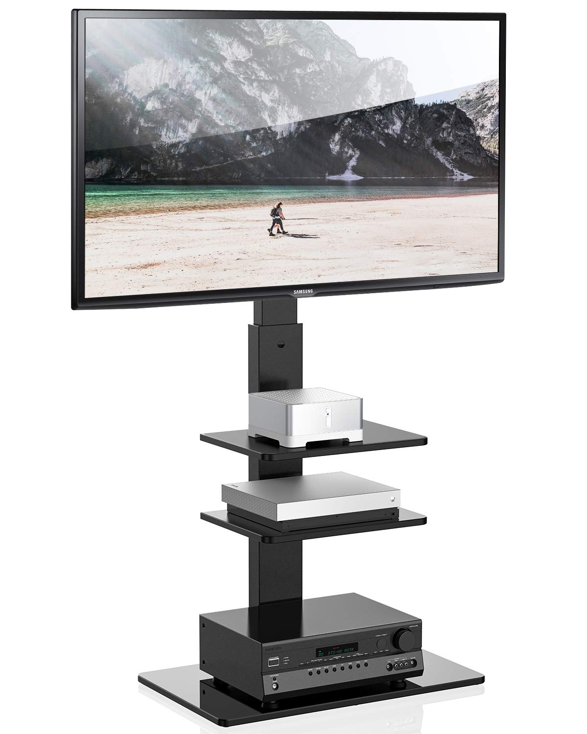 FITUEYES Universal TV Stand with Swivel Mount Height Adjustable for 32-65 Inch,TT307001MB,Two Kinds of Packaging Random Delivery by FITUEYES