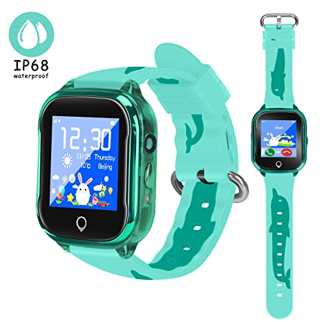LJRYCQSSZSF 2019 Newest Kids Smart GPS Phone Watch IP68 Waterproof Camera Micro Chat Clock Alarm SOS LBS Tracking Gizmo Game Smart Watch Boys Girls ...