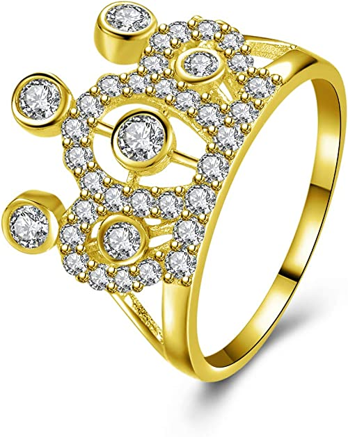 IcedJewels 1.65 cttw Round CZ 10K Yellow Gold Quinciniera Crown Ring 7.5