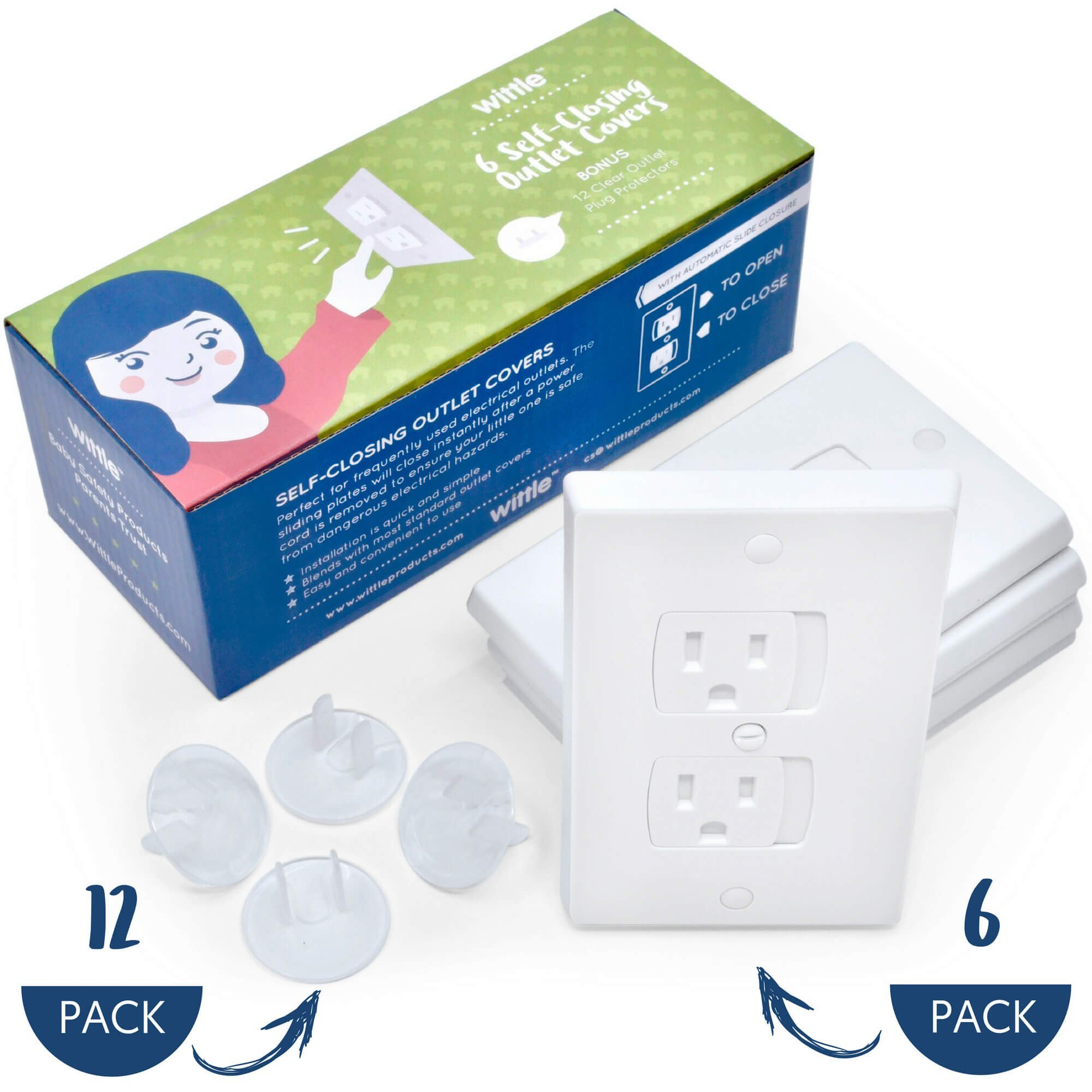 Wittle Self Closing Outlet Covers (6 White) Plus 12 Clear Plug Cover Outlet Protectors | Baby Proofing Outlets with Electrical Child Safety Kit!
