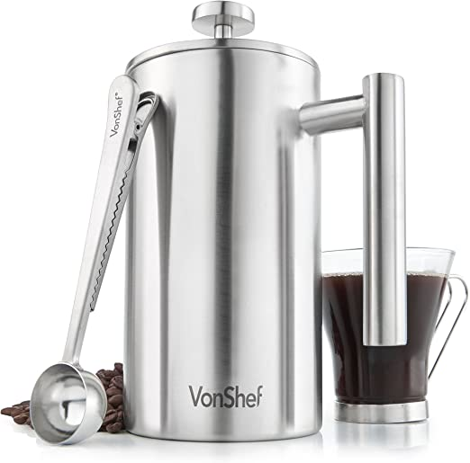 Amazon.com: Cafetera de acero inoxidable, Plateado: Kitchen ...