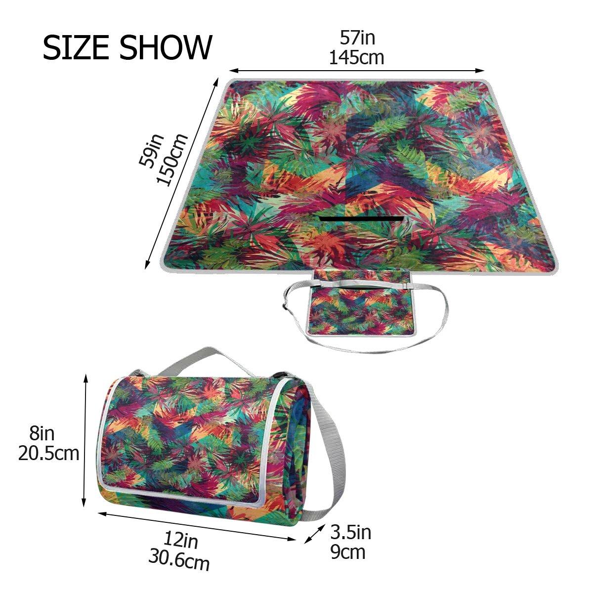 c1a844ecc ... tamaño Bennigiry Manta de picnic picnic picnic para exteriores con  palmas tropicales y pavo real, tamaño