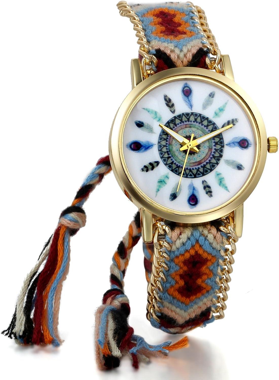 JewelryWe Boho Reloj De Pulsera Étnica De Mujeres, Cuerda De Tela Tejida, Reloj Trenzado De Hilos Ajustable, Plumas Indígenas, Regalo para el Dia de la Madre, Regalo para Chica