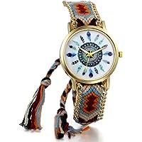 JewelryWe Boho Reloj De Pulsera Étnica De Mujeres, Cuerda De Tela Tejida, Reloj Trenzado De Hilos Ajustable, Plumas…