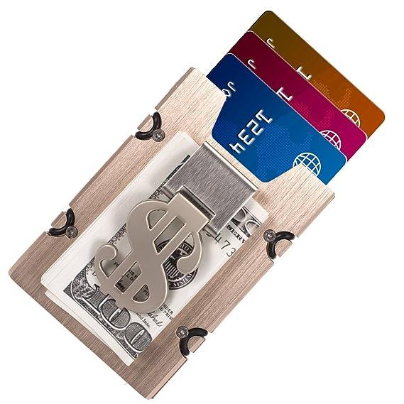 Aluminum Slim Wallet Front Pocket Wallet & Money Clip Minimalist Wallet RFID Blocking Golden at Amazon Mens Clothing store: