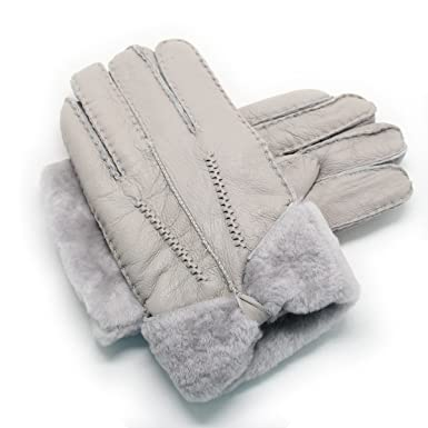 dc7b90eff YISEVEN Women's Rugged Sheepskin Shearling Leather Gloves Mittens Sherpa Fur  Wing Cuff Thick Wool Lined and