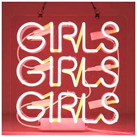 "Girls Real Glass Neon Sign Beer Bar Pub Store Home Room Party Lights Signs Neon Lamp Wall Artwork Signs(12""X12"",Pink) by Sgtd"