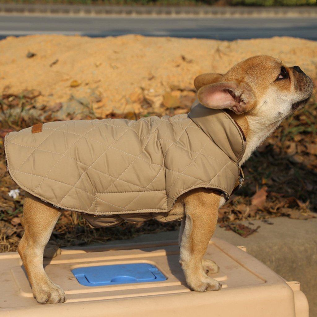 Cane Da Compagnia Impermeabile Inverno Cappotto Giacca A Quadri Reversibile Vestiti Caldi Xl Beige
