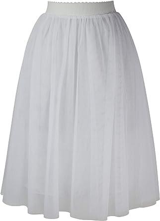 Falda Tul Mujer Midi por Las Rodillas Elegante Fiesta Boda ...