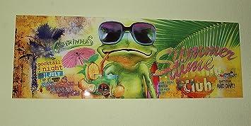 Glasbild - Frosch, Summertime, Maße: B 95cm x H 33cm, Glasbild in ...