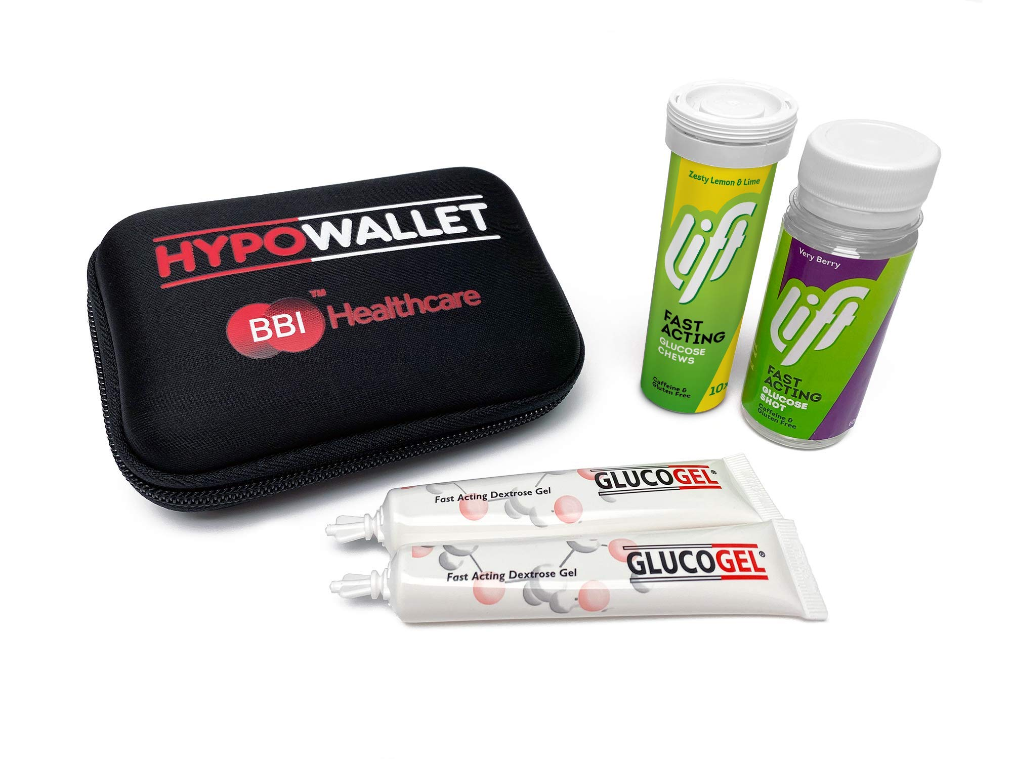 Hypowallet Hypo Wallet Contains Gluco Tabs, Gluco Juice & Gluco Gel, Fast Acting Glucose1 Units