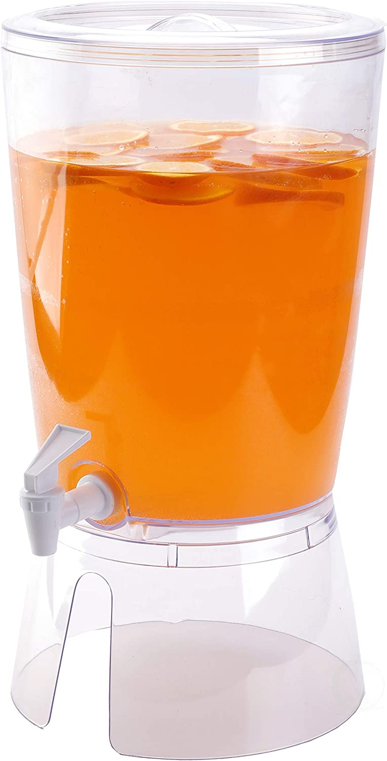 "Basicwise QI003471 Juice and Water Beverage Dispenser 2.35 gallon, Round, 9.5"" W x 9.5"" D x 12"" H, Clear"