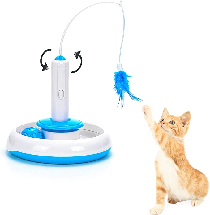 Vealind Cat Indoor Interactive Teaser Toy with 360° Electric Rotating Feather Toys & Ringing Bell Ball (Toy)