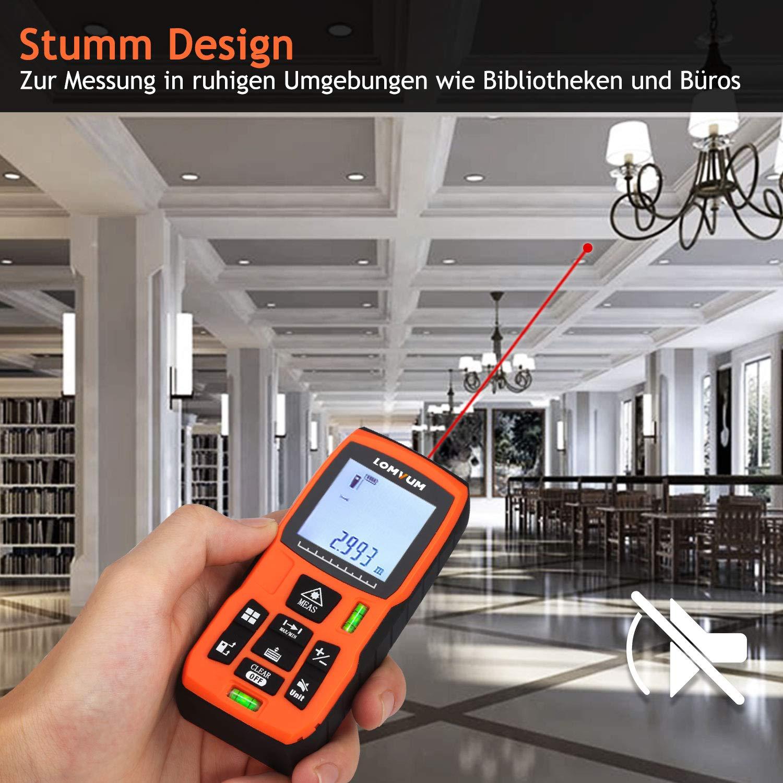 Lomvum Medidor Laser de Distancia 120M Profesional Metro Laser,Telemetro Laser con Precisi/ón 2mm,Niveles de Burbuja